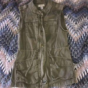 Kenar cotton olive green zip front vest Size XS